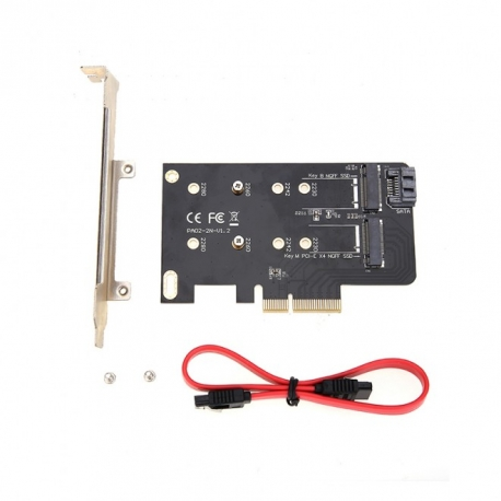 Simplecom EC412 Dual M.2 (B Key and M Key) to PCI-E x4 and SATA 6G Expansion Card PC--EC412