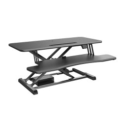 Brateck Electric Sit-Stand Desk Converter with Keyboard Tray Deck (Standard Surface) Worksurface Up