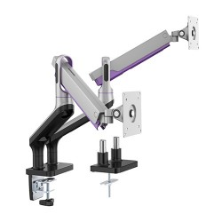 "Brateck Dual Monitor Premium Aluminum Spring-Assisted Monitor Arm Fit Most 17""-32"" Flat Panel and Curved Monitors Up to 9kg per"