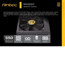 Antec Neo Eco 550Cv2 550w PSU 80+ Bronze, 120mm DBB Fan, Thermal Manager, High Perforamnce Japanese