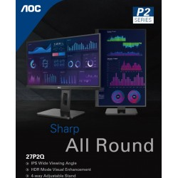 """AOC 27"""" IPS 4ms FHD Business Monitor - HDR Mode, Adaptive Sync, VGA, DVI, HDMI, DP, and Speaker x2"""