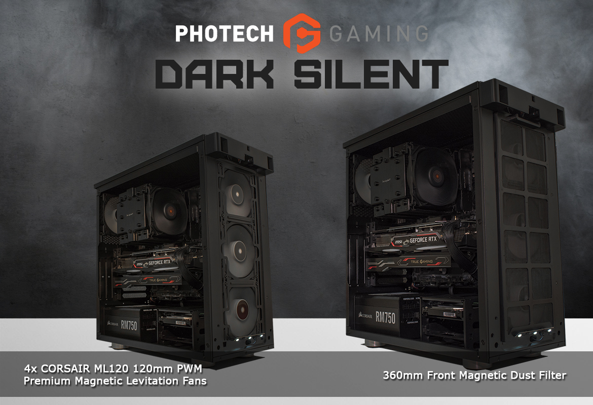 Photech DARK SILENT Gaming PC Filtered Fans